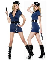 Blue Police Costume Dress sexy cop costume Halloween Party costume cosplay 2005
