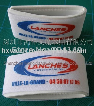 Free Shipping 2 color custom logo Nylon Velcro Ski Strap