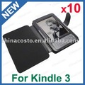 Free Shipping,For Newest EBook Amazon Kindle 3 3G 3rd 3TH Wifi,Leather Case Cover Jacket Sleeve Black,10pcs/lot