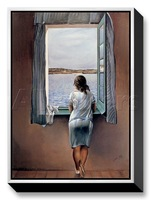 Canvas oil painting,Abstract painting,oil on canvas,Person at window By Salvador dali reproduction, Museum quality,100%handmade