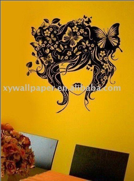 wall decal(beauty head) for sitting room(China (Mainland))