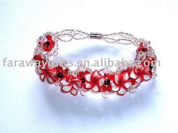 Polymer clay flower charms Crystal beaded bracelet