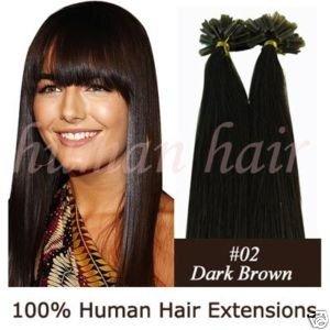 """100strands 18 """"queratina cola de unhas ponta extensões de cabelo Remy 0,5 g # 2 marrom escuro(China (Mainland))"""