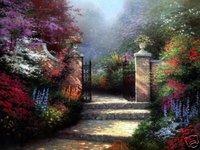 "Thomas Kinkade Oil Repro ""garden scenery paradise"" Guaranteed 100% Free shipping"
