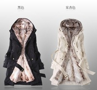 Free Shipping Faux fur lining women's fur coats winter warm long coat jacket clothes wholesale