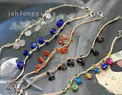 Wholesale Unique Womens Raffia Grass Bangle Bracelet Anklet w/ Color Chip Stone Pendants 200pcs Mixed Style Free Shipping(China (Mainland))