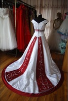 sh1859 accept paypal, Ivory satin with embroidery beaded off-shoulder ball gown custom-made designer wedding gown