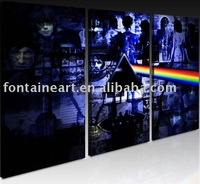 Handmade Famous Pop Art Painting,Pink Floyd,blue,black,freeshipping,12*24inch*3panels
