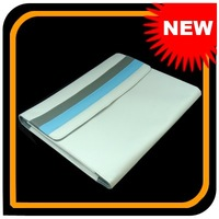 2pcs/lot Elegant Striped White Leather Cover ,Case, Sleeve For Ipad ,Free Shipping!102873
