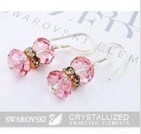 Wholesale - NEW Free Shipping fashion crystal earrings, 925 Tremella hook Earrings, 30pcs/lots pink