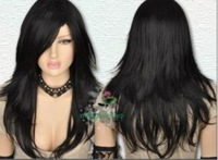 Sexy Black Straight Long Goth Punk Fashion Cosplay Wig Free shipping A433