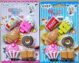 free shipping Wholesale 10set/lot Fruit, rubber / rubber lemon orange peach / Simulation rubber erase