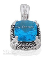 WHITE TOPAZ 925 Sterling SILVER ARCHAIZE PENDANT 7CT BLUE AND