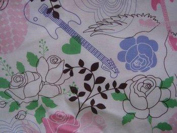 fc2995 Guitar Rose Drapery Angel Wings Love Pattern Fabric Cloth