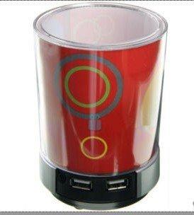 2 pcs/lot 4 Port USB HUB Pen Holder Blue LED Night Light Speaker free shipping