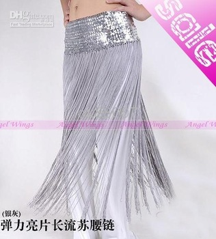 Tribal Fringe Tassel Sequin belly dance hip scarf Belt 10 colours --Silver