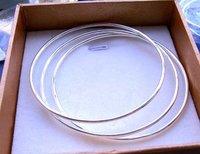 Free ship fee 925 sterling silver cute Solid 3 PCS bangle & bracelet 60MM diameter B009