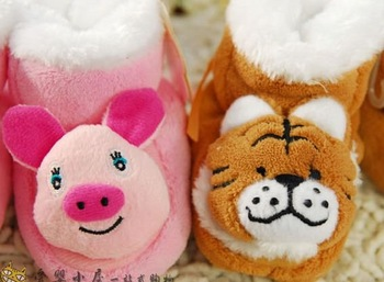 Animal shape plush winter warm cotton shoes baby shoes baby shoes, thick cotton Socks  free shipping