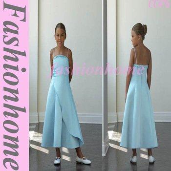 Top quality Free shipping Tea Length Satin Flower Girl Dress, Christmas gift CC076
