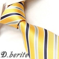 Yellow Gray Stripe 100% Silk Jacquard Classic Woven Man's Tie Necktie BP130