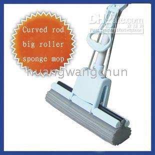 rod 4 pieces/lot Curved rod big wheel PVA sponge mop Squeeze mop water Telescopic(China (Mainland))