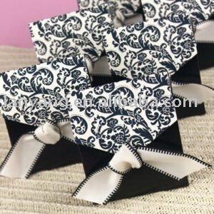 Ivory And Black Flourish Favor Box With Ribbon