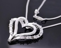 Free ship fee 925 sterling silver Heart Zircon pendant Necklace N002