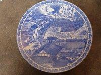 "Rare Qing Dynasty Qing Hua porcelain plate,""Qin Ming Shang He Tu"""