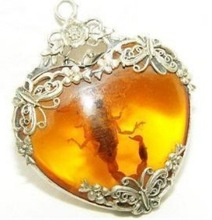 Tibet silver amber scorpion necklace pendant shipping free(China (Mainland))