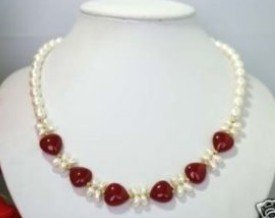 Jewellery red agate heart white pearl necklace shipping free(China (Mainland))