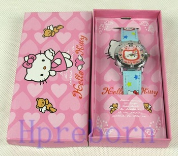 New ! 100pcs/lots hello Kitty watch wristwatch clock w gift long box
