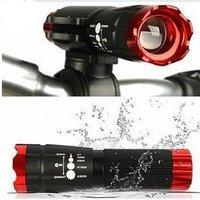 Bike Light Lamp zoom cree led Flashlight fast blink focus lens free shipping