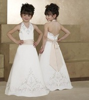 Free shipping white Satin Embroidered Appliqued A-Line halter floor-Length flower girl dresses # FL102