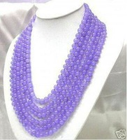 Stunning Choker 6 Stands Lavender Jade Beads Necklace shipping free