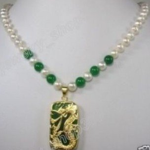 White Pearl Green jade dragon Pendant Necklace shipping free(China (Mainland))