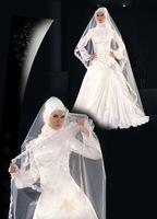 Free Shipping Classical A-Line Satin Islamic Wedding Dress Wholesale and Retail WD-M003