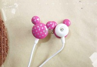 Wholesale -hot selling Mickey Mouse polychromatic Earbud In-ear stereo Earphone for mp3 mp4 Player 50 pcs