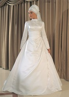 Free Shipping Classical Elegant A-Line Embroidered Satin Islamic Wedding Dress