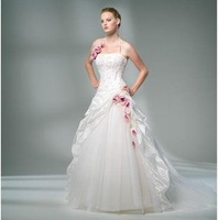 Modern style white color Organza  halter Sleeveless A-Line Floor-length Beaded Strapless Wedding Dress PD02