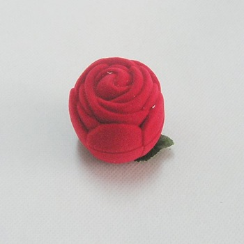 Free shipping,-Red Rose Velvet Ring box for magic ring 100pcs/lot, for magic set wholesale