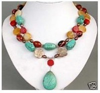 Jewelry Turquoise Coral jade Pearl Necklace Pendant shipping free