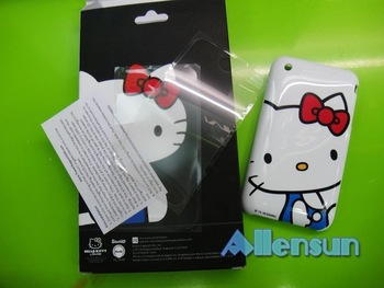 50pcs brand new luxury Hello kitty hard cover case for Iphone 3GS & 3G with two screen protector