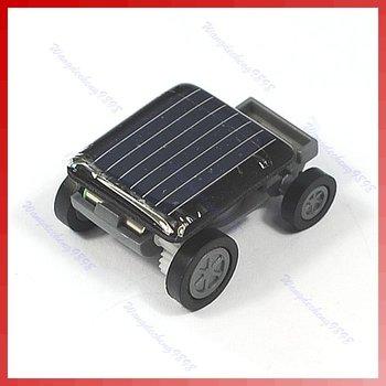 D19+Free shipping!2pcs/lot!The World's Smallest Mini Solar Power Toy Car Racer New