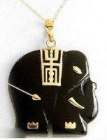 Charming black jade elephant pendant necklaces shipping free
