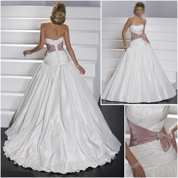 Best Sell A Line Strapless Satin Wedding Dress/ Bridal Gown(GG030)(China (Mainland))