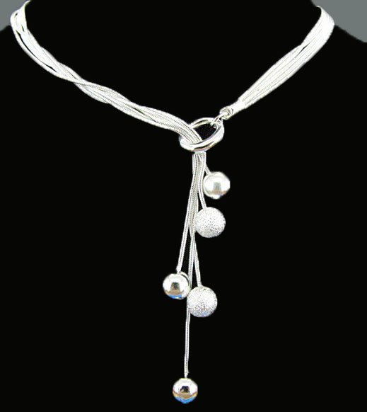 Free Shipping Fashion Jewelry Silver-Filled Snake Chain Ball Necklace AN0426(China (Mainland))