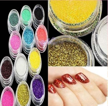 3setx12 x Mix Colour UV Gel Glitter Dust Powder for Nail Art Tip Decoration