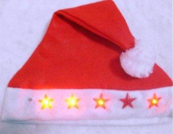 Red Led Flashing Christmas Hats XMAS Santa Caps Christmas Decoration Light Up Caps Non-woven Christmas Cap Free Shipping