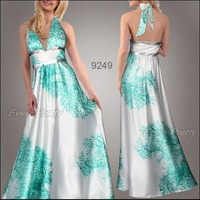 09343WH Free Shipping Graceful White Deep V Neck Beads Halter Evening Gown