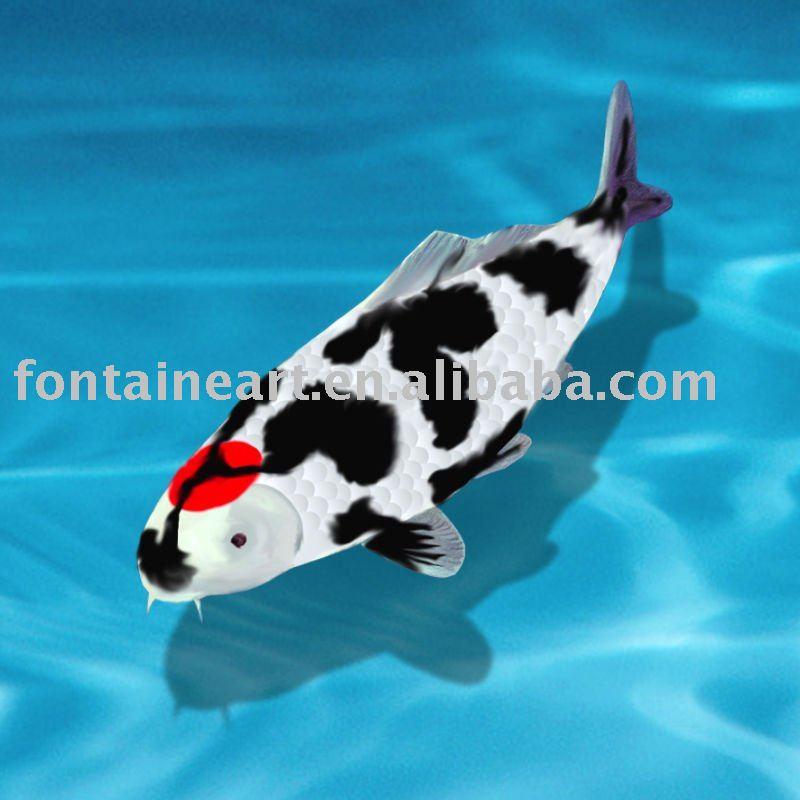 Handmade Koi Fish Oil Painting,blue water,animal art,wholesale and dropship,50*50cm(Hong Kong)